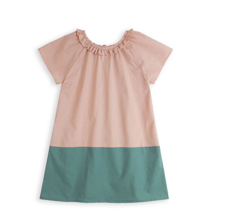 Girls  dress halter all-match floral green cotton 3<br>