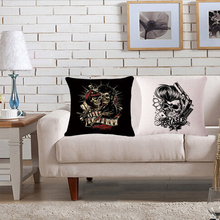 Punk Style Skull Decorative Pillowcases Pillow Cover Chair Seat and Waist Square Cotton Linen Cushion Cover Home Textile