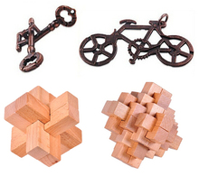 4PCS/Lot IQ Wooden Puzzle Brain Teaser Metal Puzzles Set Game Toy for Adults Children Kids