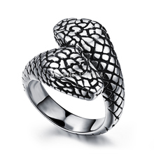 Quality Unique Jewelry Punk Style Stainless Steel Snake Ring With Two Pythons Korean Fashion Sedding Ring For Men(China)