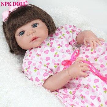 Npkdoll 22 pulgadas renace muñecas del bebé de silicona de cuerpo completo para chicas suave bebe renacida muñeca de la marca fashion girls toys cumpleaños regalo