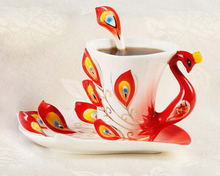 Peacock 3D Ceramic Porcelain Enamel Coffee Cup Set Coffee Mugs Dish Spoon Set(China)