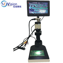 "BNC Video Microscope Kits CCD Digital Industry Microscope+C-Mount Lens+LED Light+7"" Monitor+Stand For Soldering BGA PCB Repair"