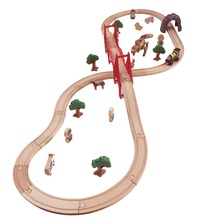 38pcs/lot kids DIY wooden railway trian toys Tomas and Friends small train track slot set