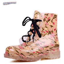 NEW 2017 Fashion rainboots rubber shoes flat print lacing jelly women's shoes water shoes rain boots female big size 36-40