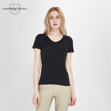 ANDREWMARC 2017 Woman Summer T shirts Slim Breathable V-neck Top Tees Big Brand Shirts for Women TW7GT053