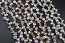 wholesale 10 strands mix  freshwater keshi pearl strands free shipping