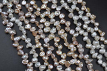 wholesale 10 strands mix freshwater keshi pearl strands free shipping(China)