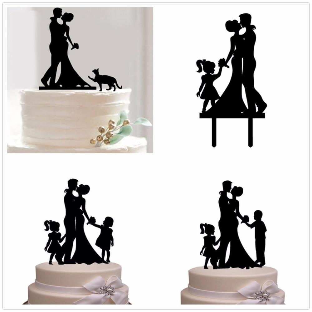 decoraci/ón divertida para tarta de boda con ni/ño Decoraci/ón para tarta de boda familiar con silueta de novio y novio