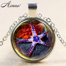 Ocean Statement Necklace Purple Starfish design kids Glass Marine life Vintage Silver Jewelry Halobios Pendant Necklace B113