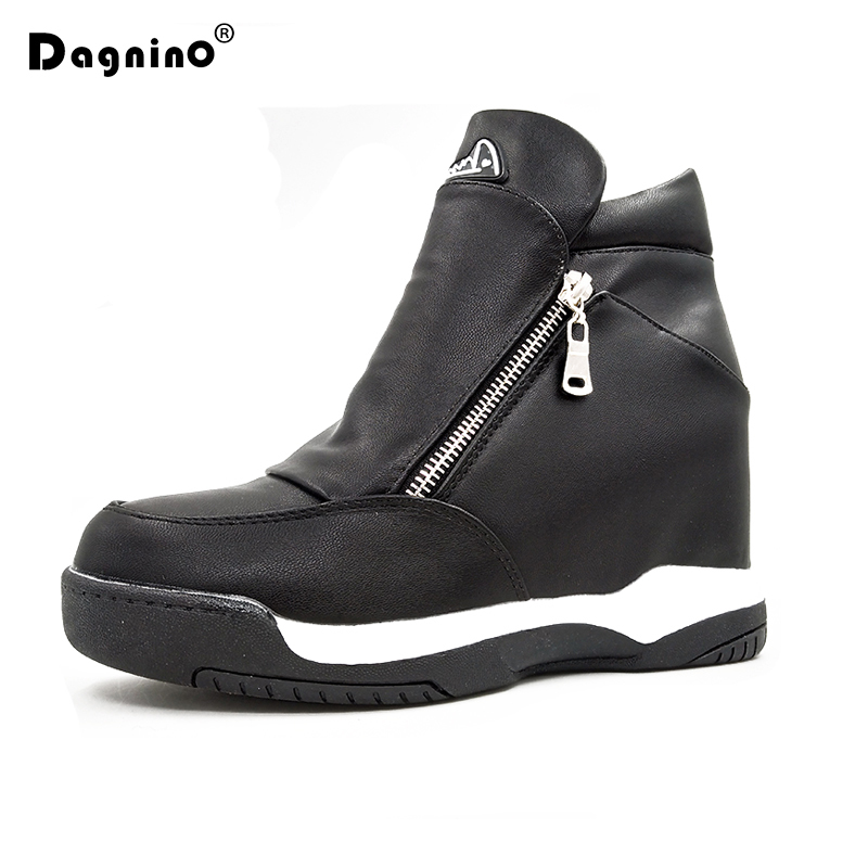 DAGNINO 2018 Winter Womens Leather Casual Shoes Height Increasing Ankle Boots Platform Zip Wedge Boots Heels Hidden Shoes Woman<br>