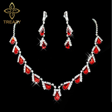 TREAZY Fashion Red Crystal Teardrops Bridal Jewelry Set Necklace Earrings Wedding Bridesmaid Jewelry Set Party Costume(China)