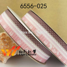 "Free shipping 1"" (25mm) sample gift ribbons Grosgrain printed ribbon Gift packing ribbon 50 yards/roll 6556-025(China)"