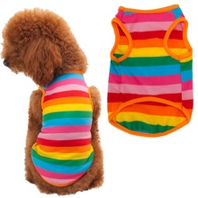 New Fashion Rainbow Stripe Dog Clothes Pet Shirt Dog Costume Summer Mascotas Cachorro Perros Ropa Para Perros Dog Clothes Summer