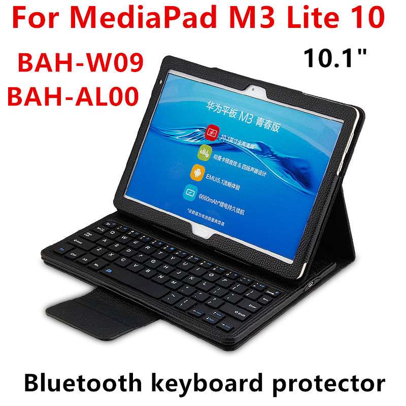 Case For Huawei Mediapad M3 lite 10 BAH-W09 AL00 10.1 Tablet PC Wireless Bluetooth keyboa Protective Cover PU Protector Leather<br>