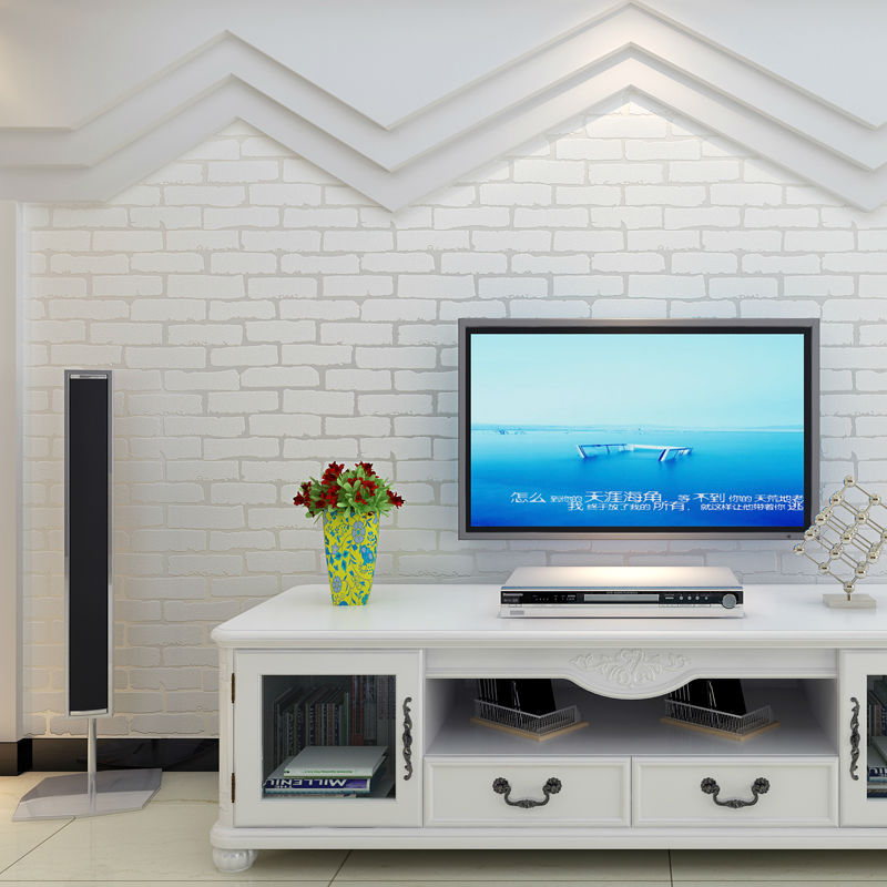3D Brick Off White and Blue Foam Thick Embossed Vinyl Wall covering Wall Paper Roll Background Wall for Living room and Bedroom<br>