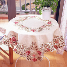 Europe country style luxury embroidered fabric lace wedding home excellent tablecloth sofa cover with rose