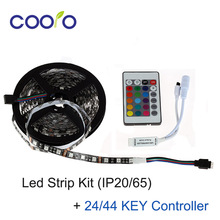 5050 LED Strip KIT with 24/44KEY Controller DC12V 60Led/M Black PCB Board 5M/Roll 300LEDS Non-Waterproof Led Flexible light
