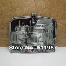 Bullzine wholesale Kenworth truck belt buckle with pewter finish FP-03277 suitable for 4cm wideth belt free shipping