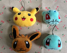 HOT NEW 6CM Approx. 4Models Stuffed Pikachu Plush Toy , Bulbasaur , Squirtle Etc. Gift String Rope Pendant Plush Toy Doll(China)