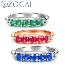 ZOCAI Real 18K Rose Gold (AU750) 100% Natural 0.40 CT Red Ruby with 0.03 CT Diamond Ring Sapphire & Emerald Available W03085(China)