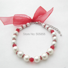 Pet Dog Pearls Necklace Collar Bling Red Accessories Charm Pet Puppy Jewelry