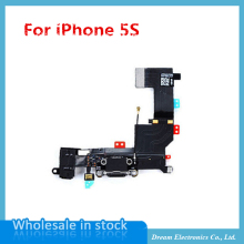 10pcs/lot High Quality NEW Audio Jack USB Charger Charging Port Dock Connector Flex Cable for iPhone 5S black/white FreeShipping