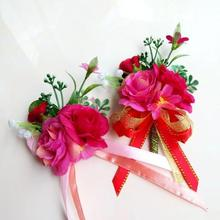 New Free shipping bride bridegroom hot pink wedding silk wrist corsage flowers corsages prom(China)