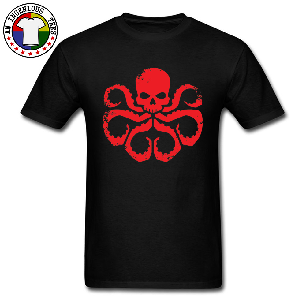 Slim FitCustom Short Sleeve T Shirt Summer Classic O Neck 100% Cotton T Shirt Men Tshirts HYDRA Badge - Red -5003  HYDRA Badge - Red -5003 black