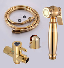 Brass Toilet Hand Held Bidet Sprayer Shower Shattaf Jet Tap Douche kit & Shower Water Separator Valve & Holder & Hose(China)