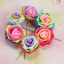 6 pcs a set lowest price! 6-7cm Artificial Foam Rainbow Roses Flower Floral Fake Valentines Wedding Decor