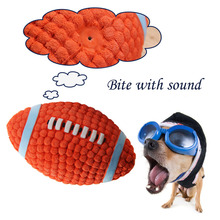 Rubber Dog Squeaky Toys Rugby Dog Chew Toy for Small Large Dogs Outdoor Pet Dog Trainining Ball Pet Products Large Size 9A15