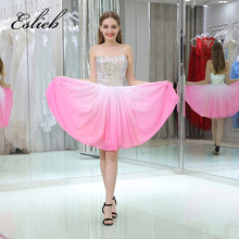 2017 stylish short a line little white cocktail dresses v neck beaded crystals informal cocktail gowns best selling(China)