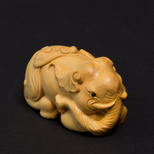 Creative wood Elephant statue Animal Carving sculpture home decoration wood Lucky feng shui crafts ornaments Gifts craft estatua(China)