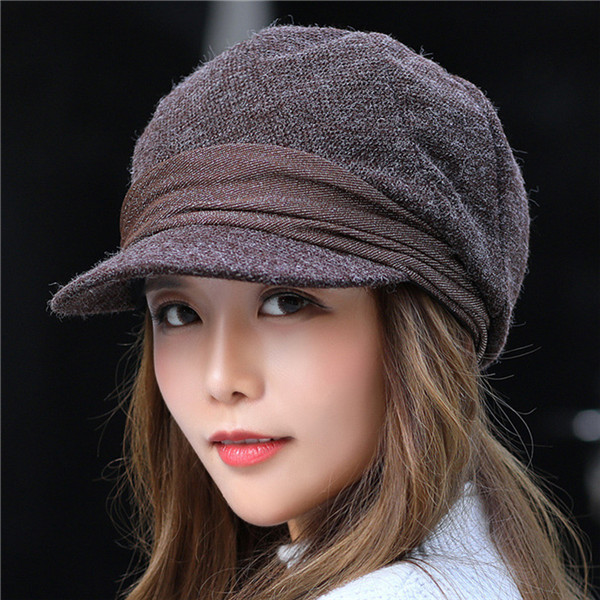 Hats Octagonal-Caps Newsboy-Caps Female Women Retro Hot Solid for Soft Winter title=