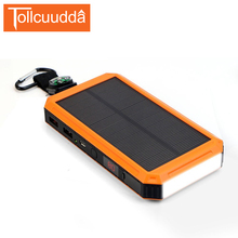 Tollcuudda Solar Power Bank 15000mAh LCD External Battery With Electric Cigarette Poverbank Portable Charger For All Phones(China)
