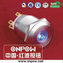 ONPOW 19mm stainless steel latching illuminated pushbutton switch LAS1GQ-11ZD/B/12V/S