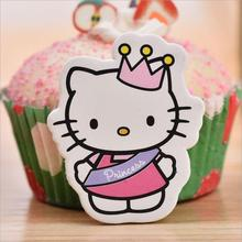 12pcs/lot Hello Kitty Cartoon Cupcake/Mousse Toppers Cartoon Cake Decorations For Baby Shower Kids Birthday Party Supplies(China)