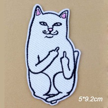 Novelty Hip Hop Middle Finger White Cat Embroidery Clothes Patches For Clothing Iron On Patches Punk Motif Applique Accessory(China)