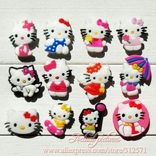 Free Shipping 12pcs/lot HELLO KITTY shoe decoration/shoe charms/shoe accessories for clogs hyb007-08(China)