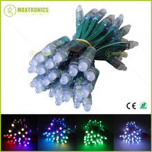50pcs DC5V/DC12V 12mm WS2811 IC RGB Led Module String Green wire Waterproof IP68 Digital Full Color LED Pixel Light