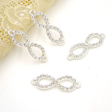 10Pcs Clear Rhinestone Connector Silver Plated Pendant Connectors For Jewelry Bracelet Parts 2 Sizes For Choice(China)