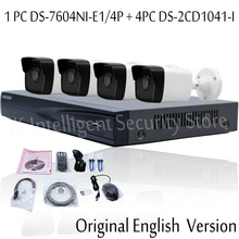 Hikvision English Version DS-7604NI-E1/4P 4CH Plug Play NVR with 4PCS DS-2CD1041-I 4MP IP Camera CCTV Security System
