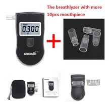 AT818S Police Digital Alcohol Breath Analyzer Detector Breathalyzer Tester Test car-detector alcoholmeter with 10pcs mouthpieces(China)
