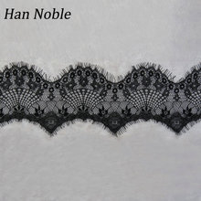 Han Noble 3 yard / lot 10cm Wide Black White Lace Fabric trim Wedding Decoration Sewing Applique Eyelashes Lace Ribbon LT023(China)