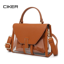 CIKER Transparent Handbag Clear Summer Beach Bag Candy Color Jelly Clear Plastic Bag Women Shoulder Crossbody Bag Bolsas Mujer
