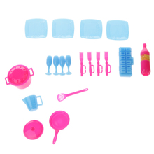 18pcs Dollhouse Miniature Plastic Kitchen Ware Cooking Kit Kids Classic Toys for Barbie Doll Accessories Doll House Decoration
