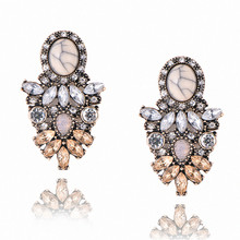 New Colorful Flower Design Luxury Starburst Pendant Crystal Stud Gem Statement Earrings Jewelry