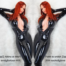 Buy Free Shipping Women Sexy Black Wetlook Faux Leather Latex Bodysuit Open Crotch Zipper Gloves Jumpsuit Catwoman Catsuit Cosplay