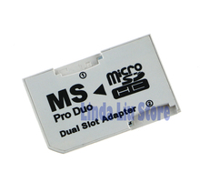 Dual Slot Micro SD TF To MS Memory Stick Pro Duo Adapter for PSP1000 2000 3000 psp 1000 2000 3000 5pcs/lot